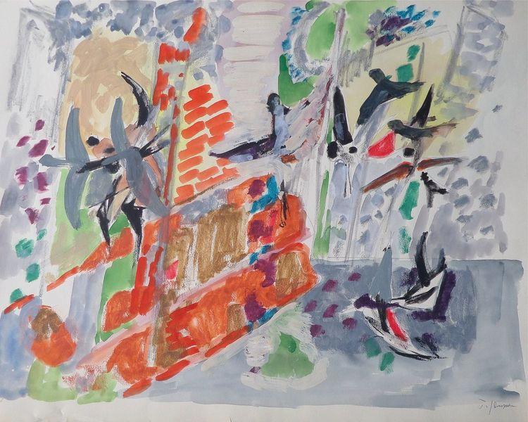 Vogel, Tiere, Malerei, Aquarellmalerei, Haus, Aquarell