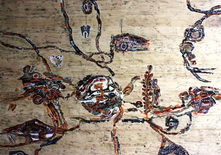 Acrylmalerei, Abstrakt, Holz, Malerei, Malerei ii