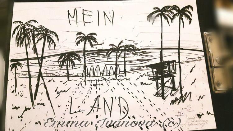 Rammstein, Strand, Tusche, Skizze, Landschaft, Inktober