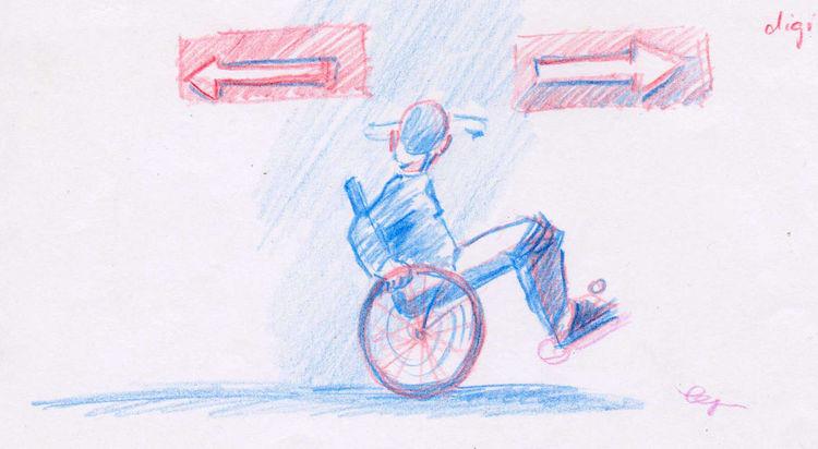 Pfeil, Richtung, Menschen, Rollstuhl, Zeichnungen, Digital