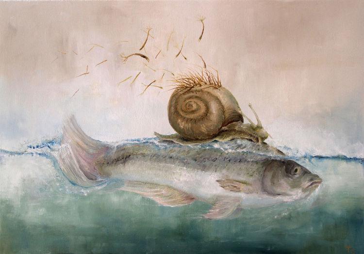 Fisch, Surreal, Fantasie, Baum, Wasser, Schnecke