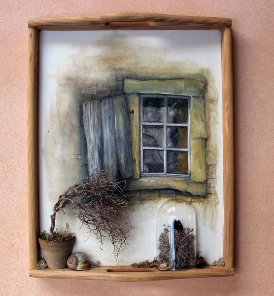 Schmetterling, Fenster, Pflanzen, Schnecke, Malerei, Vergänglichkeit