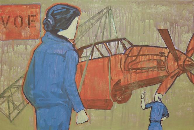 Pop art, Frau, Flugzeug, Kran, Mann, Malerei