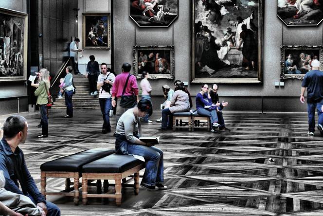 Louvre, Menschen, Paris, Fotografie,