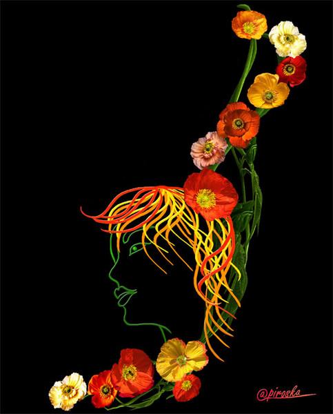 Kreativ, Blumen, Digitale kunst, Ansichtskarte, Schön, Illustration