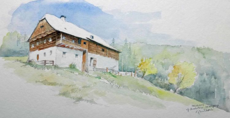 Steiermark, Bauernhof, Zirbenland, Österreich, Aquarell