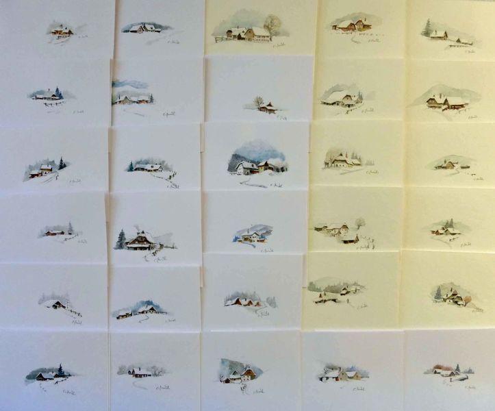 bild sterreich weihnachten bauernhof aquarell von. Black Bedroom Furniture Sets. Home Design Ideas
