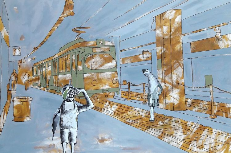 Haltesstelle, Kreatur, Straßenbahn, Malerei