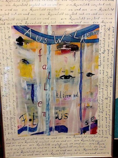Augen, Worte, Schrift, Mischtechnik, Wolken, Fallen