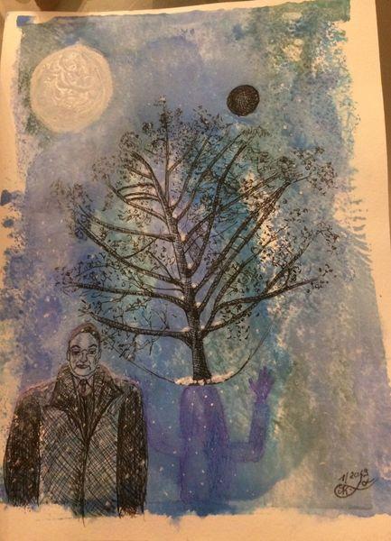 Mond, Menschen, Schwarze sonne, Baum, Schatten, Mischtechnik