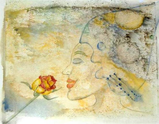 Lächeln, Rose, Frau, Malerei, Pflanzen