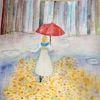 Regen, Regenschirm, Frau, Pfütze