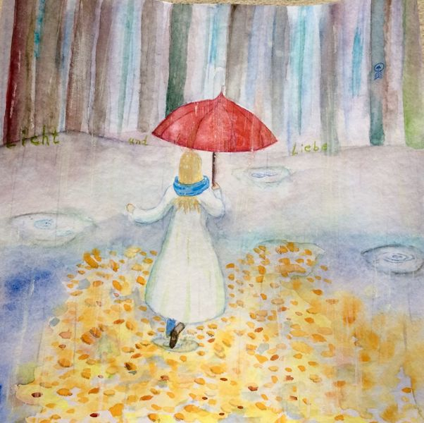 Frau, Pfütze, Wald, Laub, Regen, Regenschirm