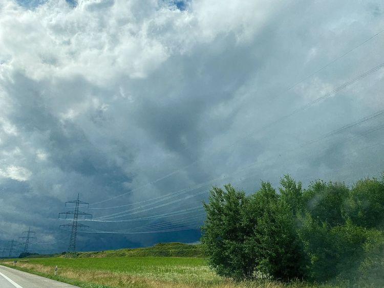 Himmel, Verbindung, Wolken, Busch, Autobahn, Fotografie