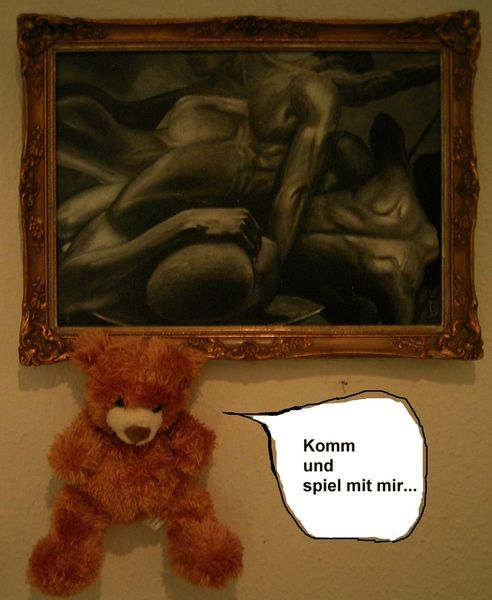 Gay, Teddybär, Akt, Bär, Mann, Malerei