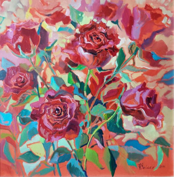 Rose, Blumen, Ölmalerei, Malerei