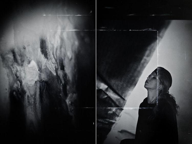 Struktur, Diptychon, Monochrom, Portrait, Frau, Fotografie