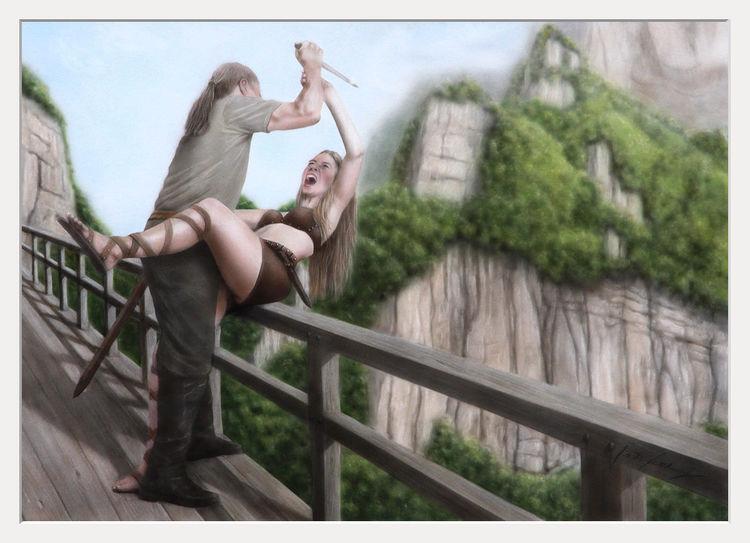 Berge, Acrylmalerei, Kampf, Scheren, Airbrush, Frau