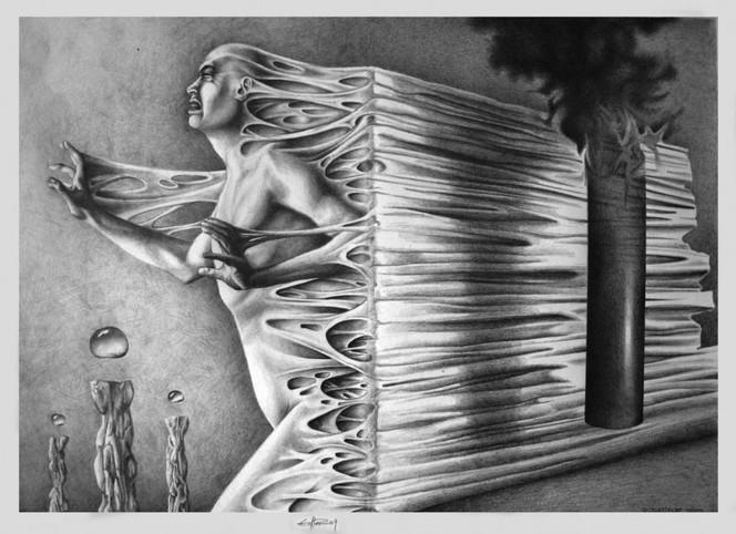 Erlebnis, Tod, Nahe, Zeichnungen, Surreal