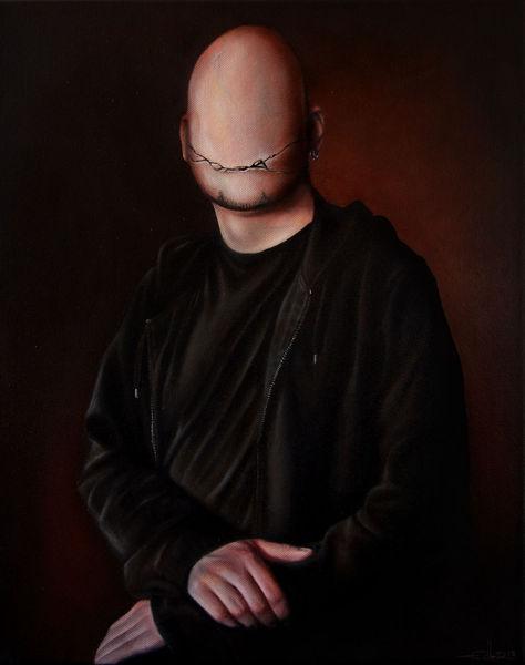 Selbstportrait, Riss, Lächeln, Rot schwarz, Kaputt, Dunkel