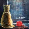 Katze, Fenster, Stillleben, Malerei