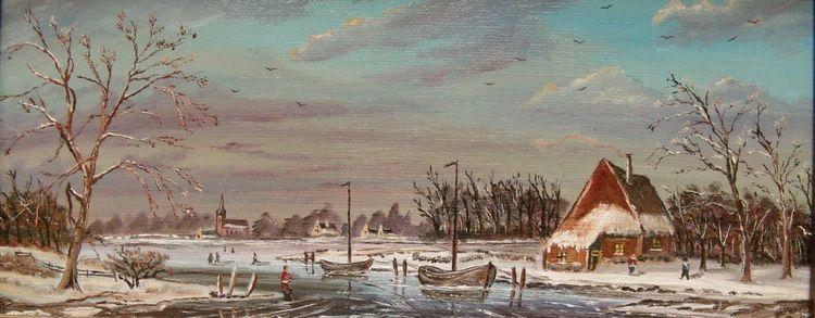 Zeitgenössischer maler, Ölmalerei, Menschen, Haus, Holländische malerei, Himmel