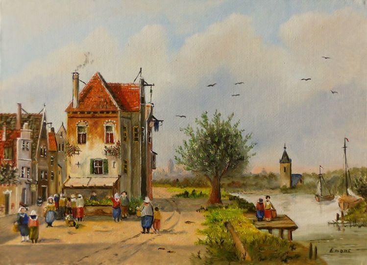 Person, Romantik, Boot, Baum, Gracht, Zeitgenössischer maler