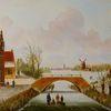 Brücke, Eis, Haus, Holländische malerei