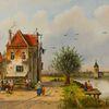 Holländische malerei, Sommer, Stadtansicht, Menschen