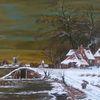 Winter, Mühle, Zeitgenössischer maler, Gracht