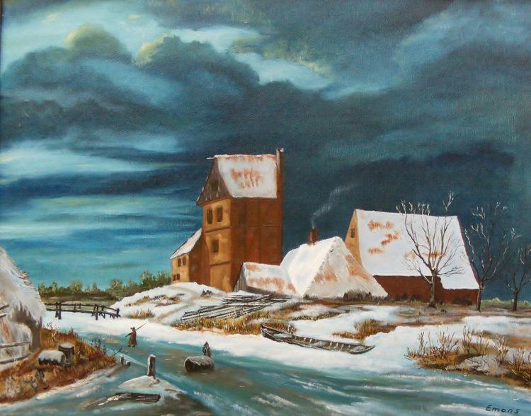 Gracht, Wolken, Brücke, Landschaft, Winter, Himmel