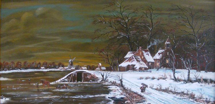 Gracht, Kirche, Menschen, Wasser, Landschaft, Holländische malerei