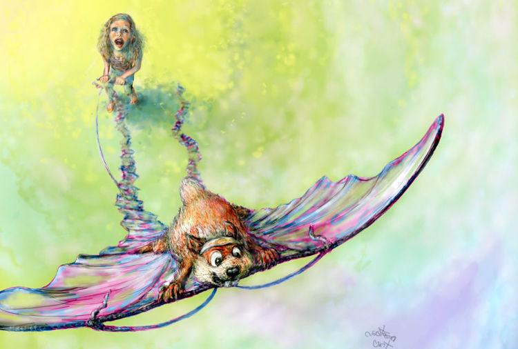 Fliegen, Rose, Illustration, Traum, Drache, Illustrationen