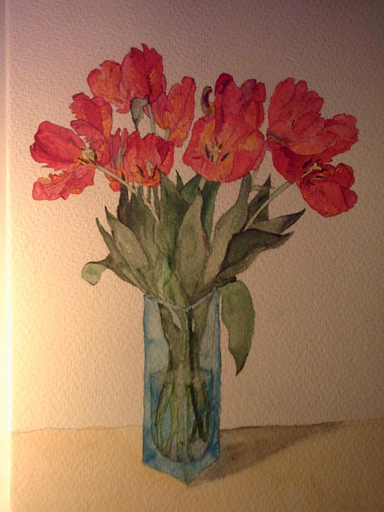 bild tulpen blumen aquarell pflanzen von natalie xy. Black Bedroom Furniture Sets. Home Design Ideas