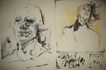 Tusche, Feder, Portrait, Malerei