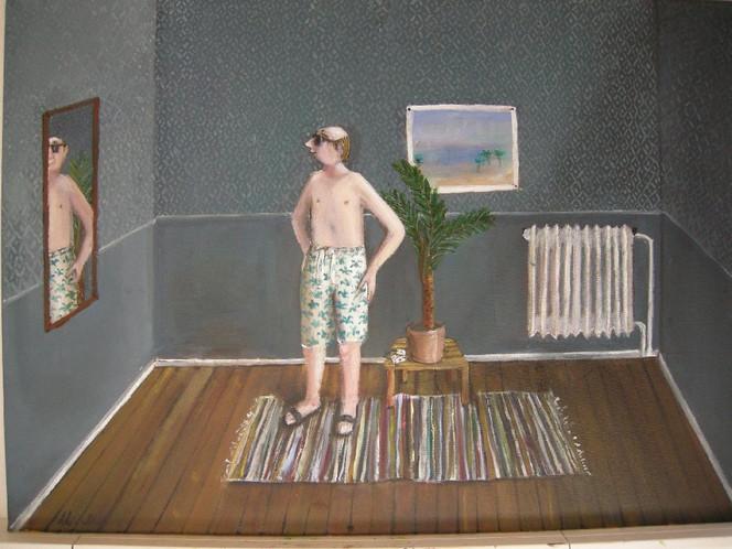 Mann, Palmen, Spiegel, Malerei, Menschen