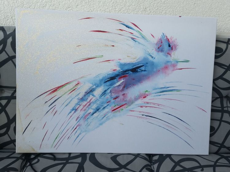 Acrylmalerei, Malerei, Abstrakte malerei, Phönix, Vogel,
