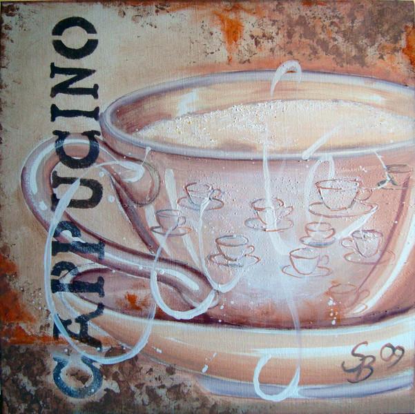 Tasse, Cappucino, Café, Kaffee, Küche, Malerei