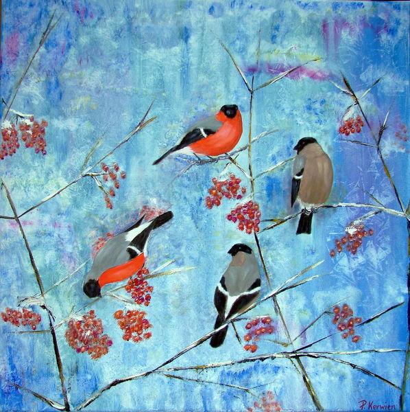 Gimpel, Ölmalerei, Dompfaff, Vogel, Winter, Malerei