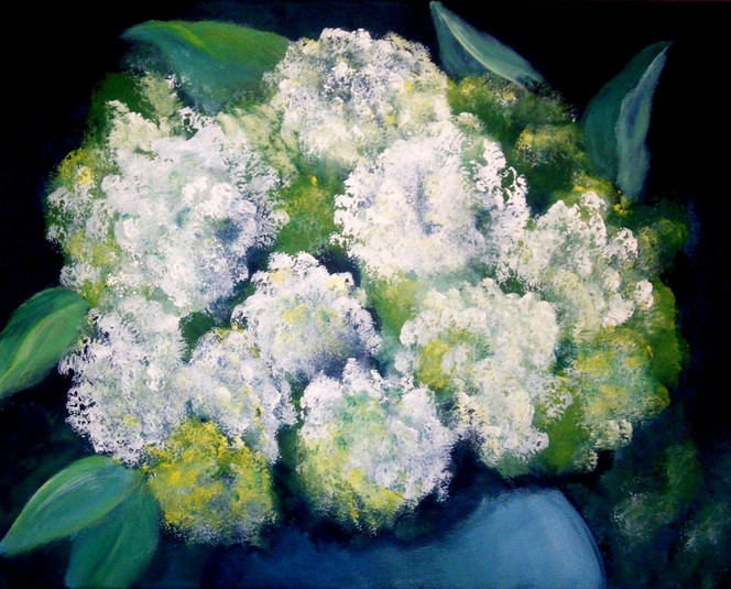 Blumen, Blüte, Hortensien, Malerei, Pflanzen