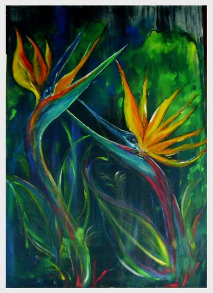 Acrylmalerei, Vogel, Kraft, Leben, Blumen, Malerei