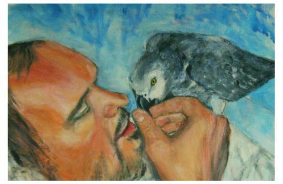 Menschen, Tiere, Freundschaft, Malerei