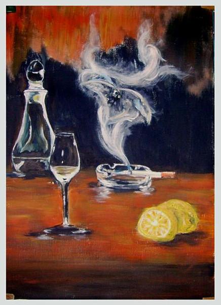 Rauch, Vogel, Genußmittel, Zitrone, Malerei, Tiere