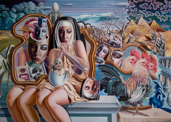 Religion, Klosterfrauen, Surreal, Modern, Malerei, Realismus