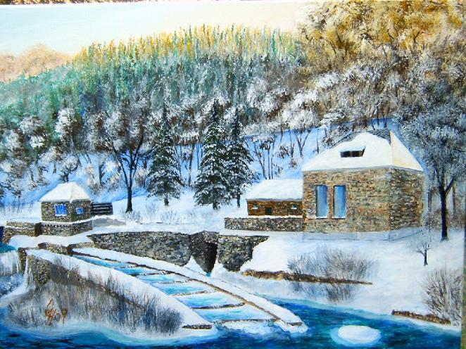 Fluss, Landschaft, Malerei
