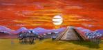 Acrylmalerei, Mystik, Landschaft, Rot