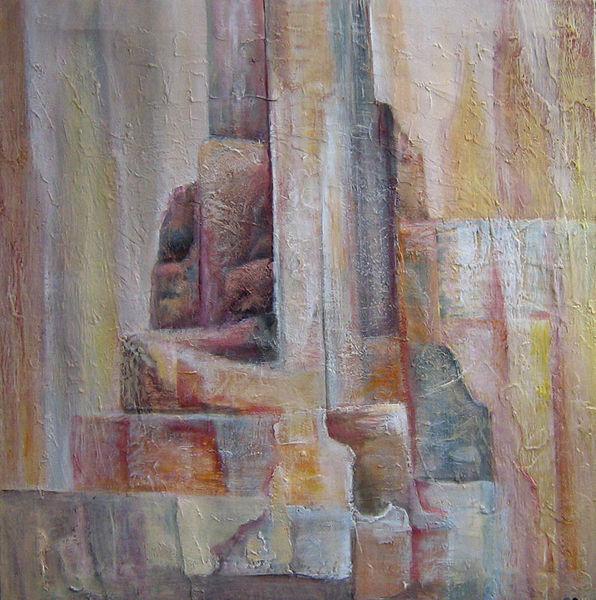 Antike, Abstrakt, Surreal, Figur, Mischtechnik, Stadt