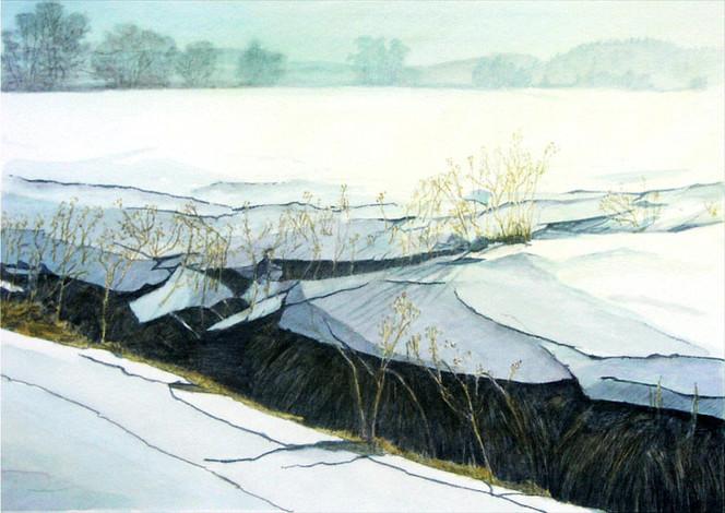 Landschaft, Abenstal, Hopfen, Winterlandschaft, Malerei, Landschaftsmalerei