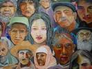 Menschen, Acrylmalerei, Portrait, Bunt