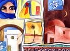 Stadt, Tunesien, Gebäude, Aquarellmalerei